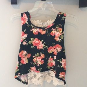 Floral crop top with lace back